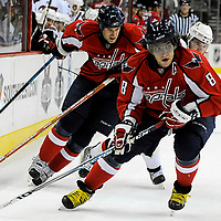 01 January 2008:  Washington Capitals left wing Alexander Ovechkin (8) skates with the puck in the first period against the Ottawa Senators at the Verizon Center in Washington, D.C.  The Capitals defeated the Senators 6-3.