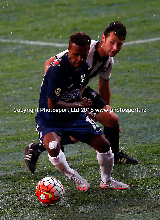 Auckland's Micah Lea'alafa gets the better of Hawkes Bay's Sean Liddicoat. ASB Premiership, Round One, Auckland City FC v Hawkes Bay United, QBE Stadium Auckland, Thursday 12th November 2015. Copyright Photo: Shane Wenzlick