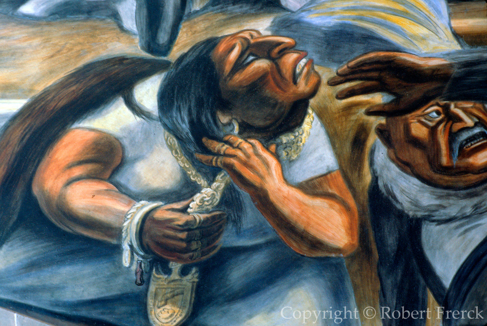 MEXICO, GUANAJUATO mural of enslavement of indians