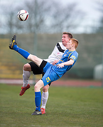 Edinburgh City&rsquo;s Shaun Harrison and Gretna FC2008&rsquo;s Iain Anderson. <br /> Half time : Edinburgh City 0 v 0 Gretna FC2008, Scottish Sun Lowland League game played at Meadowbank Stadium, 28/3/2015.