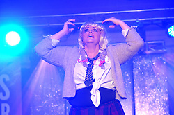 Liz Browne does her take on Britney Spears at Westport United&rsquo;s &lsquo;Stars in their Eyes&rsquo; on friday night last.<br /> Pic Conor McKeown