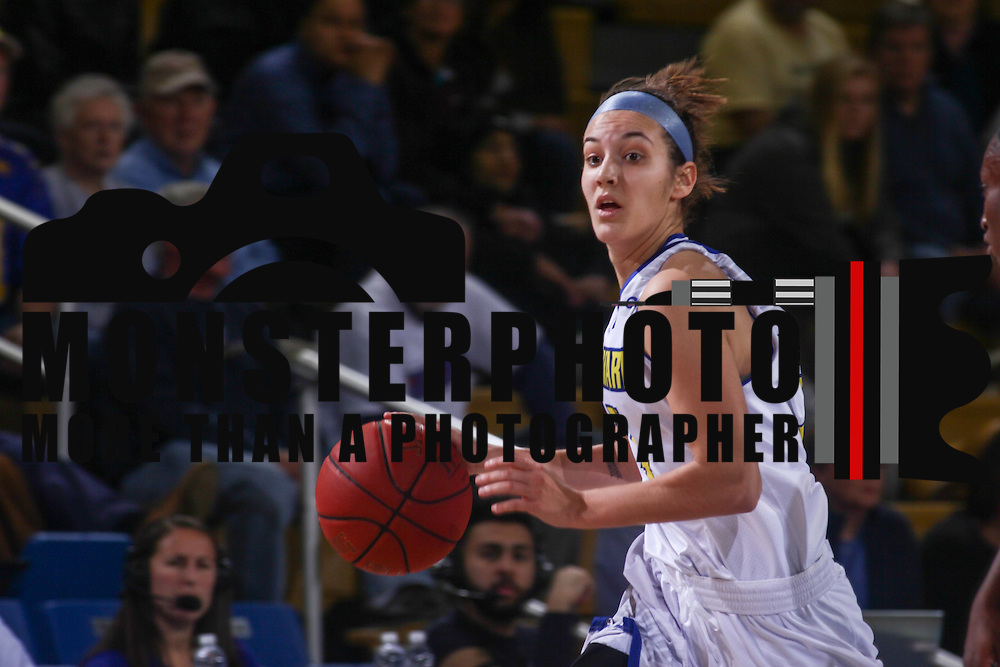 Delaware Guard Jodi Salyer (4) dribbles the ball down court in the first half of a regular season basketball game between the Delaware and the ECU Pirates Sunday, Nov. 22, 2015, at The Bob Carpenter Sports Convocation Center in Newark.