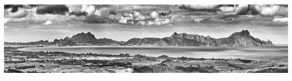 Home! Nothing beats that view as you come up and over the Brynderwyns!<br />  <br /> limited edition fine black and white art print, also available in colour. <br /> <br /> Print  $165<br /> Framed $445<br /> Canvas $225<br /> <br /> Image size L:800mm x H:200mm. <br /> <br /> Larger print size are available easily to 1.8 metres in length!<br /> <br /> To order direct, contact Alan through the contact tab above or at info@alansquires.co.nz<br /> <br /> Available to view and purchase from my studio gallery or The Bach, town basin - Whangarei.<br /> <br /> *** available to view and purchase 1.3 metre, white framed u.v. protect glass @ The Bach, Town Basin :) ***