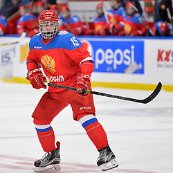 WHITBY, - Dec 14, 2015 -  Game #4 - Russia vs. Canada East at the 2015 World Junior A Challenge at the Iroquois Park Recreation Complex, ON. Georgii Ivanov #15 of Team Russia during the first period.<br /> (Photo: Shawn Muir / OJHL Images)