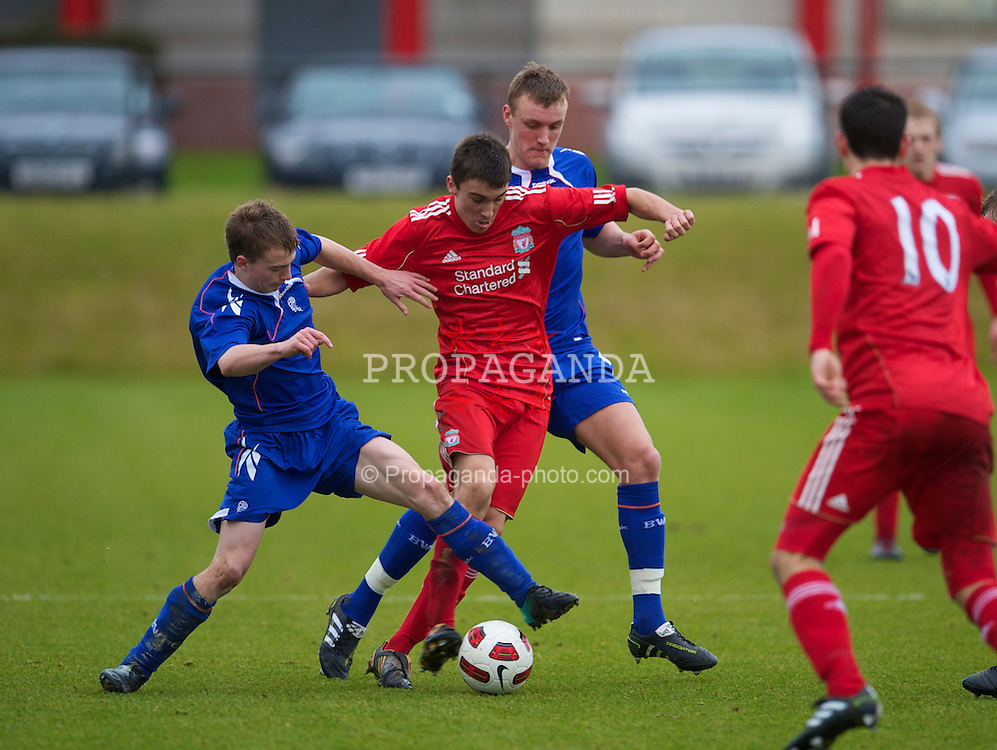 KIRKBY, ENGLAND - Saturday, January 15, 2011: Liverpool's Adam Morgan in action against Bolton Wanderers during the FA Academy Under 18s League match at the Kirkby Academy. (Photo by David Rawcliffe/Propaganda)