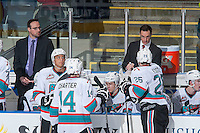 KELOWNA, CANADA - FEBRUARY 6: Brad Ralph, head coach of the Kelowna Rockets goes over a play during time out against the Calgary Hitmen on February 6, 2016 at Prospera Place in Kelowna, British Columbia, Canada.  (Photo by Marissa Baecker/Shoot the Breeze)  *** Local Caption *** Brad Ralph;