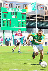 May 5, 2013; Bronx, NY; USA; Leitrim's Paul Brennan (10) chases a loose ball during the first half at Gaelic Park.