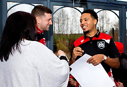 Frank Fielding and Korey Smith of Bristol City sing autographs during Bristol City's visit to the Children's Hospice South West at Charlton Farm - Mandatory by-line: Robbie Stephenson/JMP - 21/12/2016 - FOOTBALL - Children's Hospice South West - Bristol , England - Bristol City Children's Hospice Visit