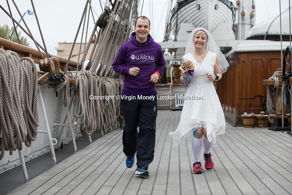 Breast cancer survivor Jackie Scully married Duncan Sloane today, on board the Cutty Sark, before both ran in the Marathon, in aid of the Willow Foundation. The Virgin Money London Marathon, 23rd April 2017.<br /> <br /> Photo: David Levenson for Virgin Money London Marathon<br /> <br /> For further information: media@londonmarathonevents.co.uk