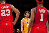 15 January 2010: Forward Pau Gasol of the Los Angeles Lakers stares down Baron Davis of the Los Angeles Clippers after DAvis fouls Gasol during the second half of the Lakers 126-86 victory over the Clippers at the STAPLES Center in Los Angeles, CA.