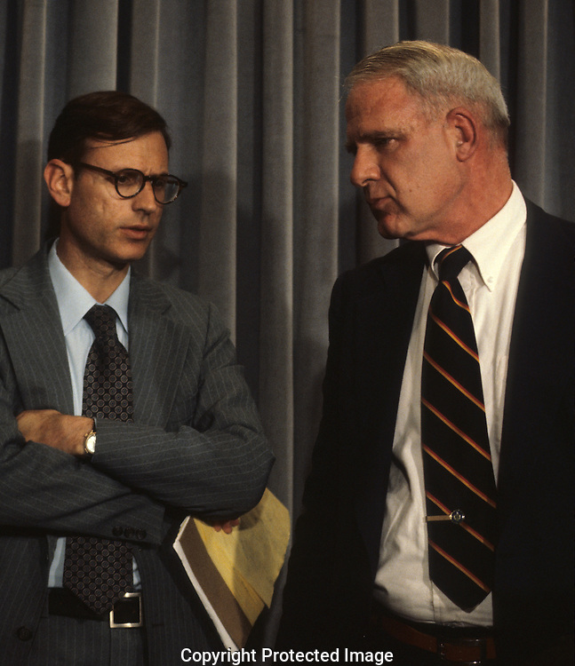 Carter advisors Stuart Eisnstadt and James Schlesinger in the White House Press briefing room in June 1979<br /> <br /> Photograph by Dennis Brack<br /> bb45