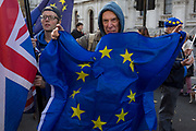 On the day that Prime Minister Theresa May petitions her cabinet on the current negotiations to leave the EU, pro-Europe  protesters against Brexit stand in opposite Downing Street in Whitehall, on 14th November 2018, in London, England.