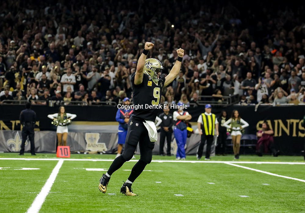 Nov 4, 2018; New Orleans, LA, USA; New Orleans Saints quarterback Drew Brees (9) celebrates after a touchdown against the Los Angeles Rams during the second quarter at the Mercedes-Benz Superdome. Mandatory Credit: Derick E. Hingle-USA TODAY Sports