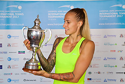 LIVERPOOL, ENGLAND - Sunday, June 18, 2017: Ladies' Champion Polona Hercog (SLO) with the trophy after beating Corinna Dentoni (ITA) 6-2, 6-4  during Day Four of the Liverpool Hope University International Tennis Tournament 2017 at the Liverpool Cricket Club. (Pic by David Rawcliffe/Propaganda)