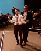 Conservative Annual Conference, Manchester Central, Manchester, Great Britain <br /> Day 4<br /> 4th October 2017 <br /> <br /> Theresa May MP<br /> Leader of the Conservatives makes her Leaders' speech at the end of the 4 day conference in Manchester. <br /> <br /> Comedian Simon Brodkin being led away by Police <br /> <br /> <br /> Photograph by Elliott Franks <br /> Image licensed to Elliott Franks Photography Services