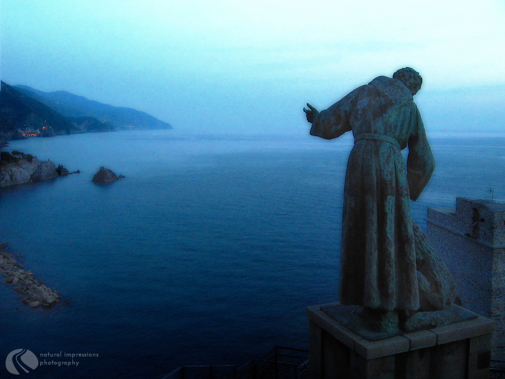 Sitting above the bay in Monterossa, the Protector of the Animals statue guards the top village of Cinque Terre.