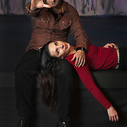 Husband and wife team Paata and Irina Tsikurishvili, founders of the physical theater company, Synetic Theater, pose for a portrait on stage at Synetic Theater in Crystal City, Virginia. (Currently stage for The Nutcracker.). Paata directs most productions while Irina choreographs.