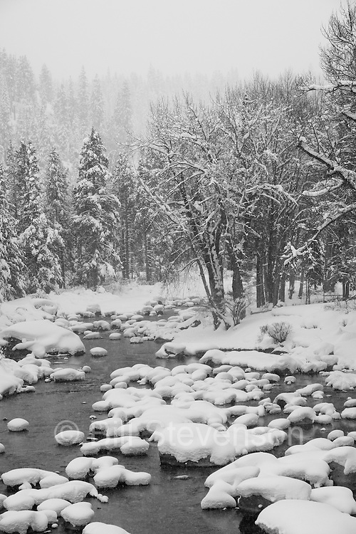 A photo of the Truckee River in winter after a fresh snow. The Truckee is the only outlet for Lake Tahoe. It flows east into the Nevada desert where it forms Pyramid Lake, a lake with no outlet.