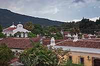 View across the rooftops of world heritage Antigua, Guatemala.