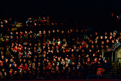 LIVERPOOL, ENGLAND - Sunday, March 12, 2017: Liverpool supporters illuminated by golden late afternoon spring sunshine during the FA Premier League match against Burnley at Anfield. (Pic by David Rawcliffe/Propaganda)