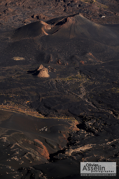 Bottom of the caldera of the volcano seen from the slope of Pico Fogo, Fogo Island, Cape Verde, West Africa.