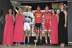 September 12, 2018 - Namur, BELGIUM - French Warren Barguil of Team Fortuneo-Samsic, Belgian Jasper Stuyven of Trek-Segafredo and Belgian Dimitri Claeys of Cofidis pictured on the podium after the 59th edition of the one day cycling race Grand Prix de Wallonie (205,9km) from Blegny to the Citadelle de Namur, in Namur, Wednesday 12 September 2018. BELGA PHOTO YORICK JANSENS (Credit Image: © Yorick Jansens/Belga via ZUMA Press)