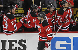 April 24, 2012; Newark, NJ, USA; The New Jersey Devils congratulate New Jersey Devils right wing Steve Bernier (18) on his goal during the first period of  game six of the 2012 Eastern Conference quarterfinals at the Prudential Center.