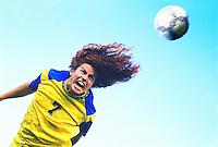 Soccer player heading ball(digital enhancement)