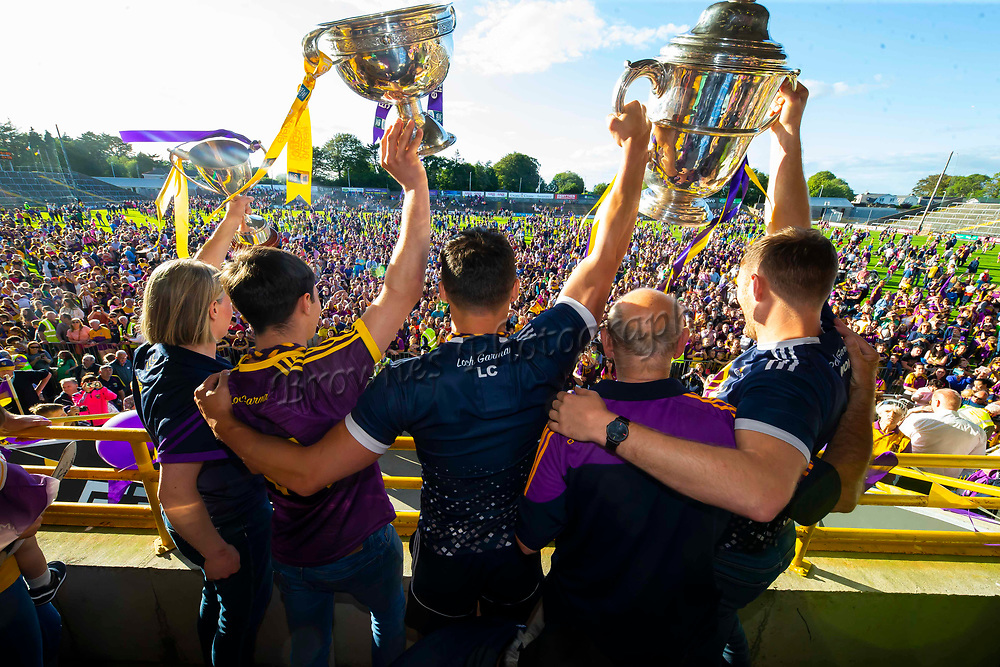 01/07/2019. Wexford GAA Homecoming at Innovate Wexford Park where the Senior Leinster Hurling and Minor Champions and the Ladies Football winners arrived to a large crowd. Pictured are Mary Rose Kelly Ladies Football Captain, Minor Hurling Captain Richie Lawlor and Senior Hurling Captains Lee Chin and Matt O'Hanlon. Picture: Patrick Browne