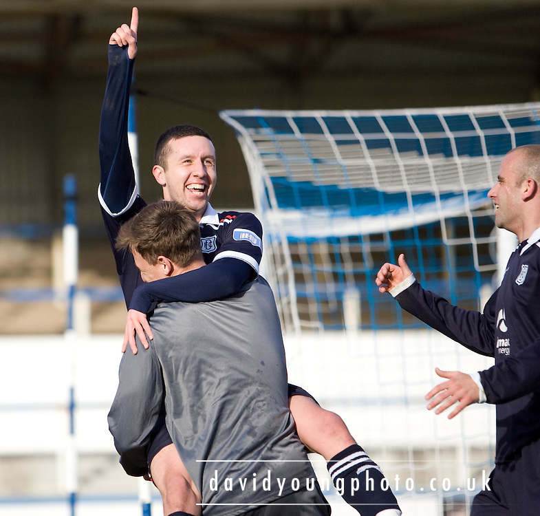 Dundee's Ryan Conroy celebrates his second with substitute Jake Hyde - Greenock Morton v Dundee, Irn Bru Scottish Football League First Division at Cappielow..© David Young - 5 Foundry Place - Monifieth - DD5 4BB - Telephone 07765 252616 - email; davidyoungphoto@ggmail.com - web; davidyoungphoto.co.uk