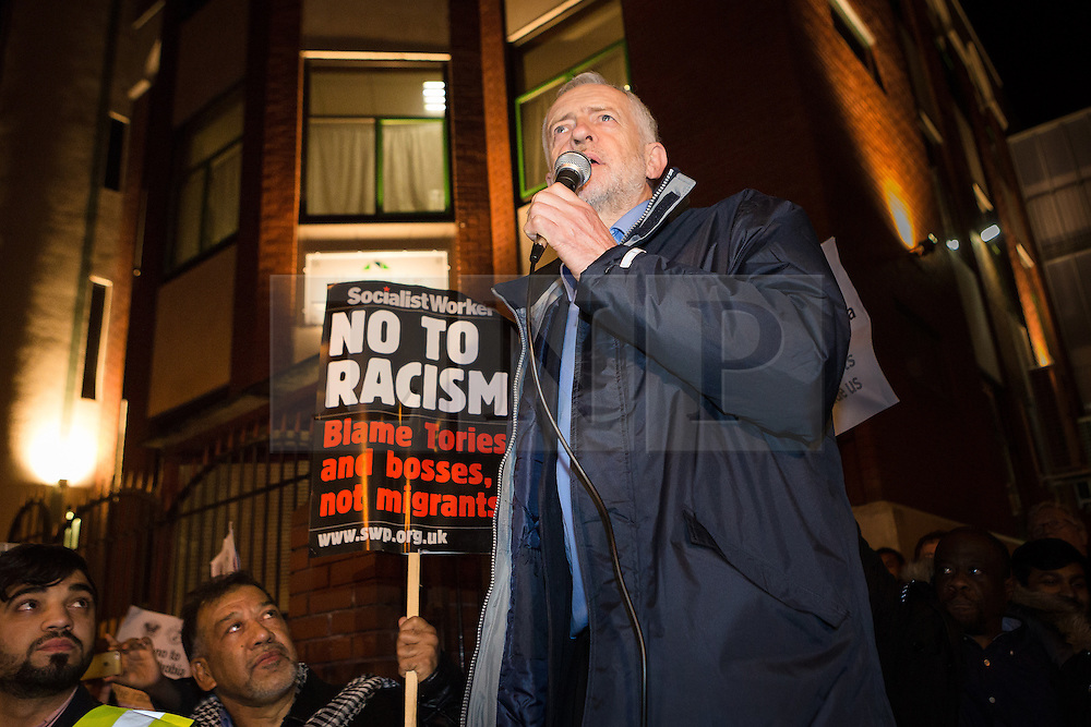 © Licensed to London News Pictures. 04/12/2015. London, UK. JEREMY CORBYN speaking at an anti-Islamophobia rally and protest against racism and anti-muslim hate crime, outside the Finsbury Park Mosque in north London. The rally, organised by Finsbury Park Mosque, Stand Up To Racism and Stop The War Coalition follows an attempted arson attack on Finsbury Park Mosque last week and was attended by Labour Party leader and local MP for Islington North, Jeremy Corbyn. Photo credit : Vickie Flores/LNP