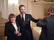 MARY QUANT; TOM FORD; SIR PHILIP GREEN, Dinner to mark 50 years with Vogue for David Bailey, hosted by Alexandra Shulman. Claridge's. London. 11 May 2010