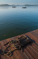 Collapsed Lobster Trap on Dock, Castine, Maine, US