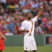 Rickie Lambert, (left), Liverpool, and Ashley Cole, AS Roma, in action during the Liverpool Vs AS Roma friendly pre season football match at Fenway Park, Boston. USA. 23rd July 2014. Photo Tim Clayton
