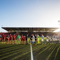 Aberdeen v Kilmarnock, Scottish Premiership, 27th January 2018<br /> <br /> Aberdeen v Kilmarnock, Scottish Premiership, 27th January 2018 &copy; Scott Cameron Baxter | SportPix.org.uk<br /> <br /> The teams line up at Pittodrie.