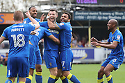 AFC Wimbledon defender Jon Meades (3) celebrating after scoring goal to make it 1-0 during the EFL Sky Bet League 1 match between AFC Wimbledon and Oldham Athletic at the Cherry Red Records Stadium, Kingston, England on 21 April 2018. Picture by Matthew Redman.