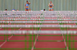 Radmila Vukmirovic and Marina Tomic during women 100 m Hurdles  at Slovenian National Championships in athletics 2010, on July 17, 2010 in Velenje, Slovenia. (Photo by Vid Ponikvar / Sportida)