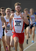 May24, 2018; Sacramento, CA, USA; Josh Kerr of New Mexico wins 1,500m heat in 3:44.80 for the top time during the NCAA West Preliminary at Hornet Stadium.