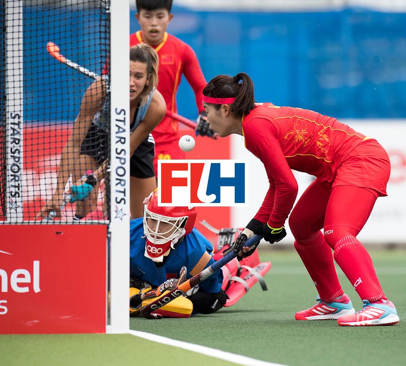 AUCKLAND - Sentinel Hockey World League final women<br /> Match id 10294<br /> 04 Argentina v China.<br /> Foto: half save off Dongxiao Li(C,Gk)  <br /> WORLDSPORTPICS COPYRIGHT FRANK UIJLENBROEK