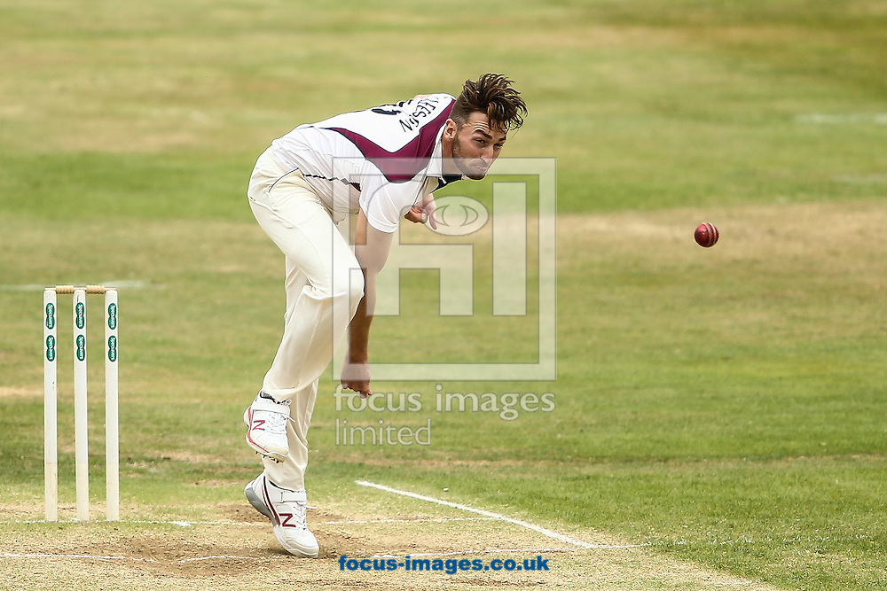 Richard Gleeson of Northamptonshire CCC in delivery stride during the Specsavers County C'ship Div Two match at the County Ground, Northampton<br /> Picture by Andy Kearns/Focus Images Ltd 0781 864 4264<br /> 14/08/2016