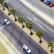 Bird's eye view of a coastal road in Barcelona.