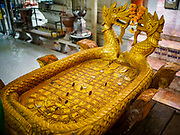 02 AUGUST 2018 - PAK KRET, NONTHABURI, THAILAND: A replica of the Buddha's footprint at Wat Pai Lom, a Mon temple on Ko Kret. Ko Kret (also spelled Koh Kret) is a small island in the Chao Phraya River in Nonthaburi province north of Bangkok. It is about 2 km long and 1 km wide. It has seven main villages, the largest and most populous being Ban Mon. Ko Kret was created in 1722 when a canal was dug in the Chao Phraya River to bypass a bend. Most of the people on the island are ethnically Mon, from the hills of western Thailand and eastern Myanmar (Burma). The island is popular as a weekend daytrip from Bangkok. The island is famous for the Mon style pottery made on the island.      PHOTO BY JACK KURTZ