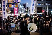 Tokyo, February 4 2012 - Anti-nuke demo in Omotesando headed by Japanese actor Taro Yamamoto.