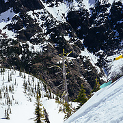 Andy Mahre skiing a backcountry line in Glacier National Park.
