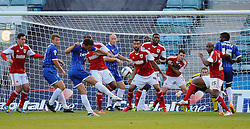 Bristol City Goalkeeper, Frank Fielding watches through a crowd of players as Gillingham's Chris Whelpdale's shot goes over  - Photo mandatory by-line: Seb Daly/JMP - Tel: Mobile: 07966 386802 06/08/2013 - SPORT - FOOTBALL - Priestfield Stadium - Gillingham -  Gillingham V Bristol City - Capital One Cup - First Round