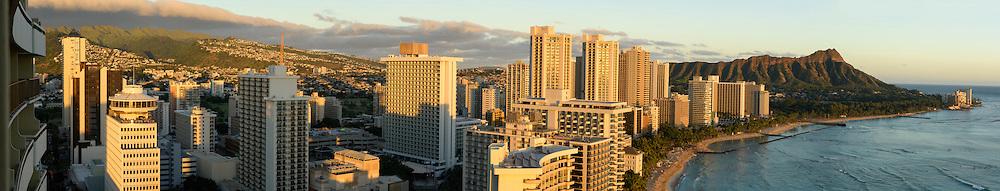 USA, Hawaii, Oahu, Honolulu, Waikiki, panorama