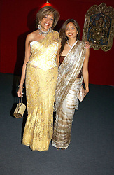 "Left to right, MISS VIMLA LALVANI and her daughterr MRS DIVIA LALVANI at the 10th annual British Red Cross London Ball.  This years ball theme was Indian based - ""Yaksha - Yakshi: Doorkeepers to the Divine"" and was held at The Room, Upper Ground, London on 1st December 2004.  Proceeds from the ball will aid vital humanitarian work, including HIV/AIDS projects that the Red Cross supports in the UK and overseas.<br />
