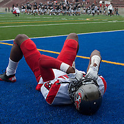 9/24/11 6:40:49 PM --- FOOTBALL SPORTS SHOOTER ACADEMY 008 --- Palomar wide reciever Nigel Westbrooks (3) lays in the end zone after a double overtime lose to Santa Ana College on Saturday September 24, 2011. Photo by Matt Boyle, Sports Shooter Academy