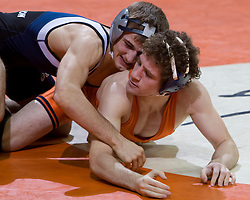 Wyatt Anderson of the University of Virginia wrestles with James Nicholson of Old Dominion University.  Nicholson is ranked #20 in the 125lb weight class.  The 2008 Virginia Intercollegiate Wresting Championships were hosted by the University of Virginia at the John Paul Jones Arena in Charlottesville, VA on January 5, 2008.