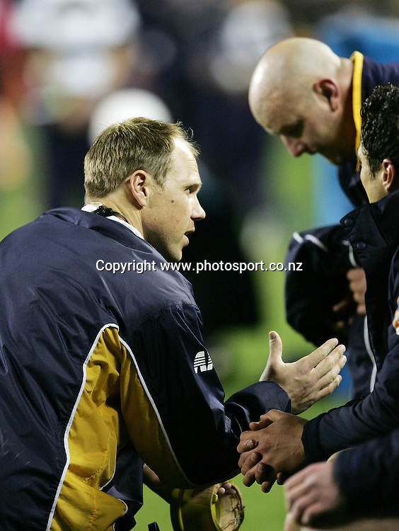 Otago trainer Jeff Wilson during the Air NZ Cup week 9 rugby match between Auckland and Otago at Eden Park, Auckland, New Zealand on Saturday 23 September, 2006. Auckland won the match 48-7. Photo: Hannah Johnston/PHOTOSPORT<br /><br /><br /><br /><br />230906